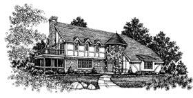 European, Tudor House Plan 43040 with 3 Beds, 3 Baths, 2 Car Garage Elevation