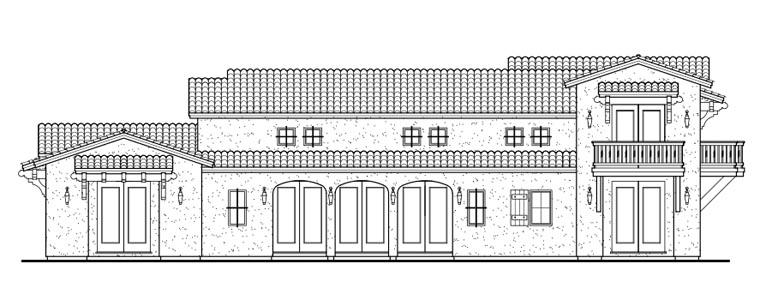 Mediterranean, Santa Fe, Southwest House Plan 43101 with 5 Beds, 5 Baths, 3 Car Garage Rear Elevation