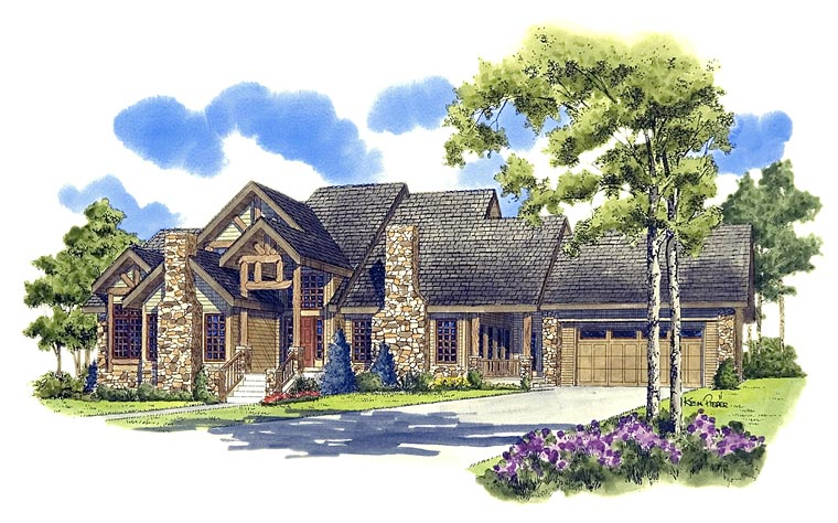 Craftsman , Ranch , Tudor , Elevation of Plan 43200