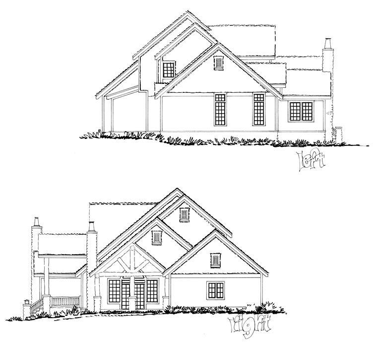 Craftsman, Ranch, Tudor House Plan 43200 with 3 Beds, 3 Baths, 2 Car Garage Picture 2