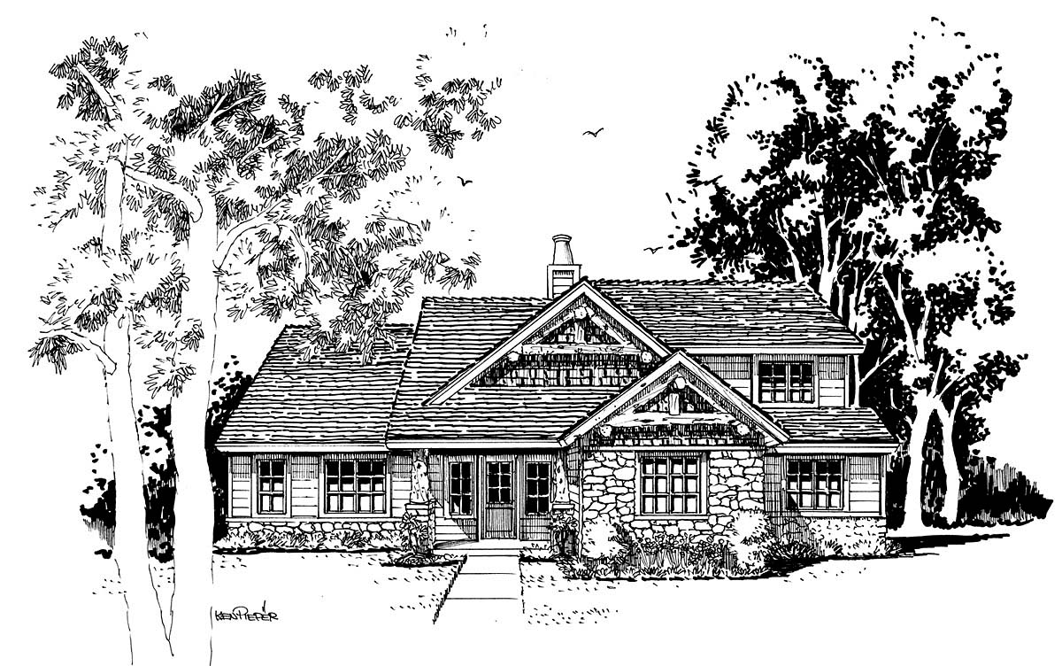 Cabin, Craftsman, Tudor House Plan 43201 with 4 Beds, 3 Baths Elevation