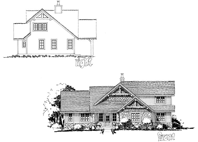 Cabin, Craftsman, Tudor House Plan 43201 with 4 Beds, 3 Baths Picture 2