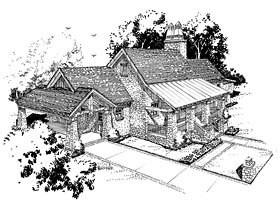 Cabin , Craftsman , Tudor House Plan 43202 with 3 Beds, 3 Baths, 1 Car Garage Elevation