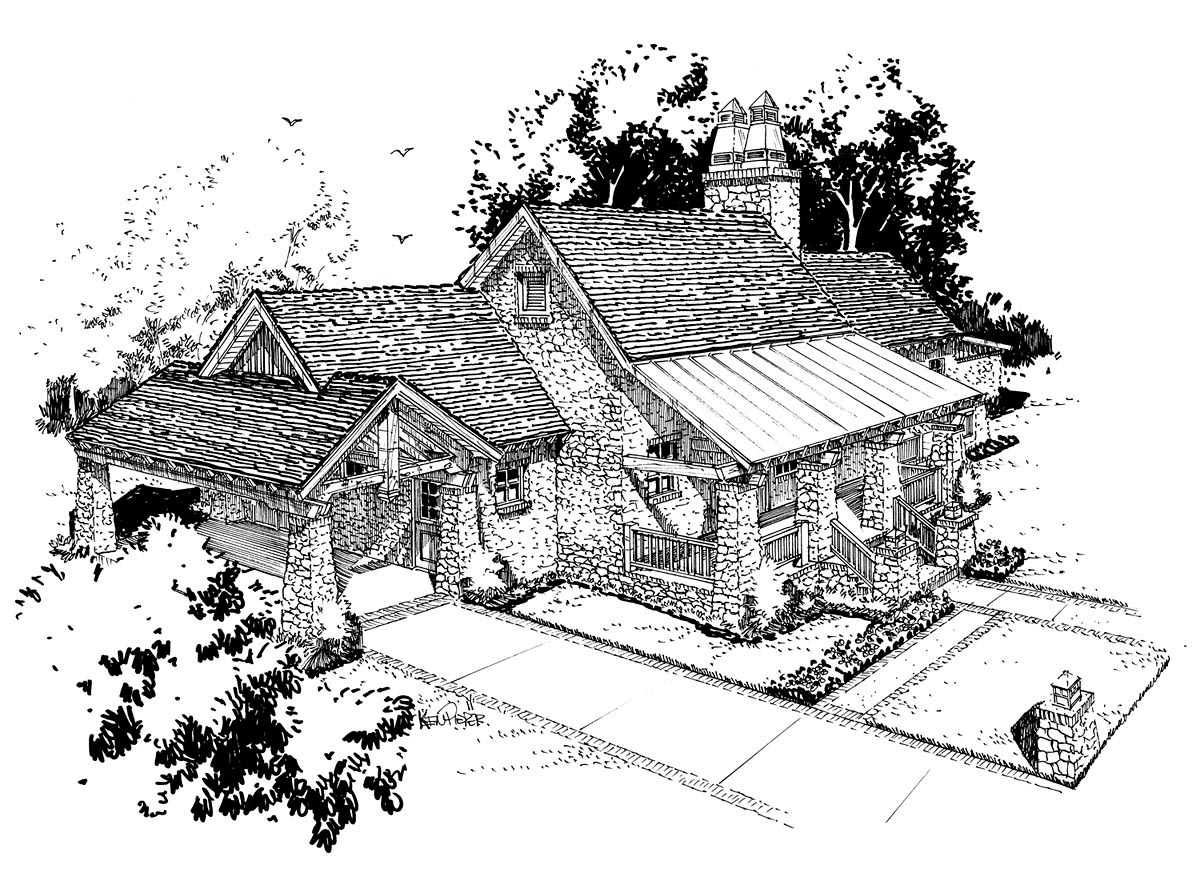 Cabin, Craftsman, Tudor House Plan 43202 with 3 Beds, 3 Baths, 1 Car Garage Front Elevation