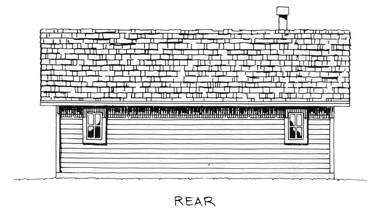 Cabin Cottage Rear Elevation of Plan 43203
