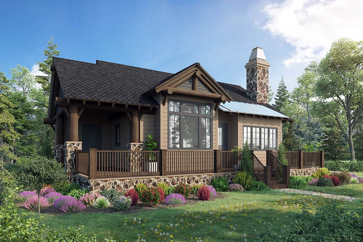 Cabin, Cottage, Craftsman, House Plan 43204 with 2 Beds, 2 Baths Elevation