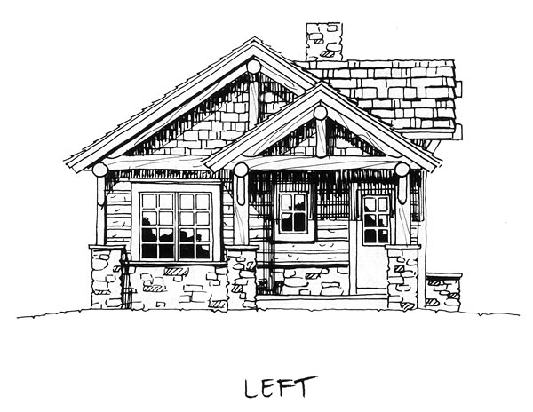 Cabin, Cottage, Craftsman, House Plan 43204 with 2 Beds, 2 Baths