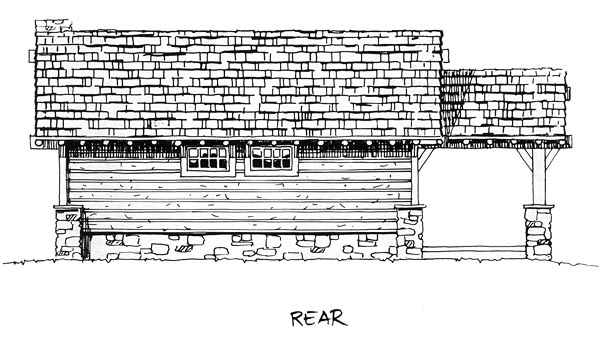 Cabin, Cottage, Craftsman, House Plan 43204 with 2 Beds, 2 Baths Rear Elevation