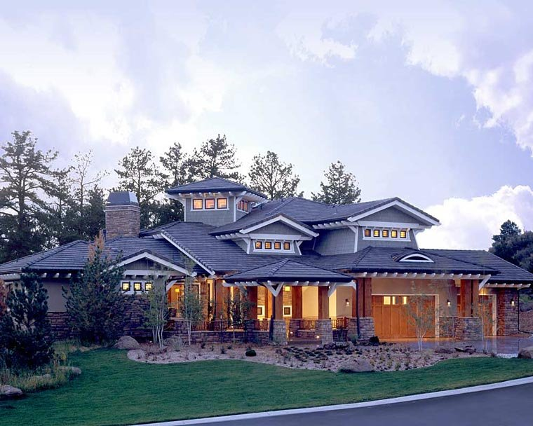 Craftsman, Prairie, Southwest House Plan 43205 with 5 Beds, 7 Baths, 3 Car Garage Front Elevation
