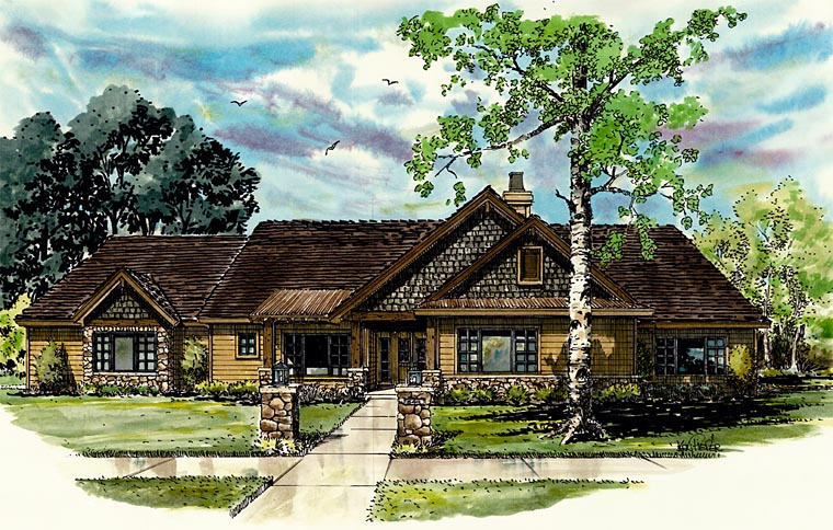 Bungalow, Craftsman, Ranch House Plan 43207 with 3 Beds, 2 Baths, 3 Car Garage Front Elevation