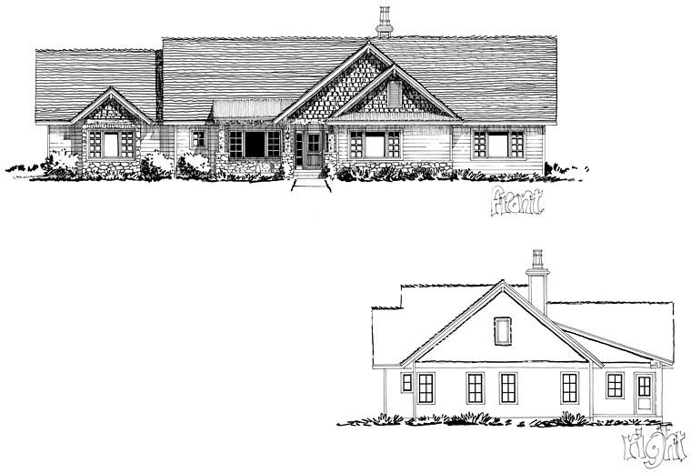 Bungalow, Craftsman, Ranch House Plan 43207 with 3 Beds, 2 Baths, 3 Car Garage Picture 1