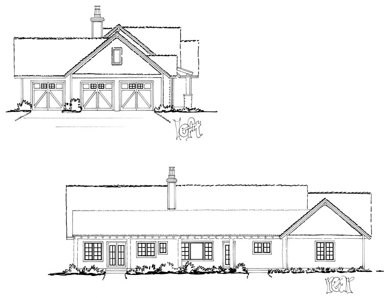 Bungalow, Craftsman, Ranch House Plan 43207 with 3 Beds, 2 Baths, 3 Car Garage Picture 2