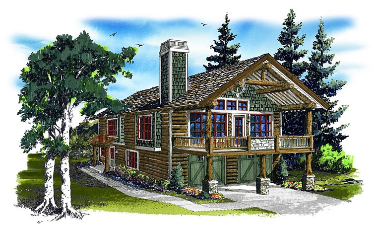 Cabin Log House Plan 43209 Elevation