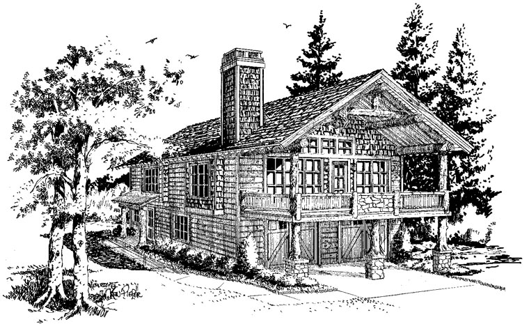 Cabin Log House Plan 43209