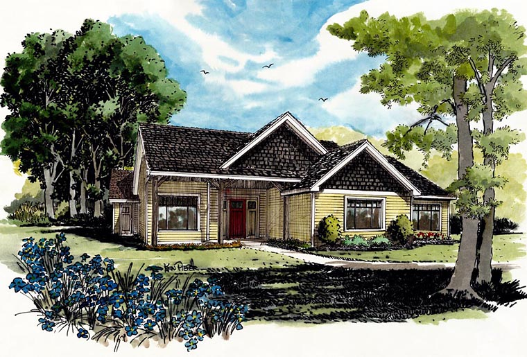 Craftsman , Ranch House Plan 43210 with 3 Beds, 2 Baths Elevation