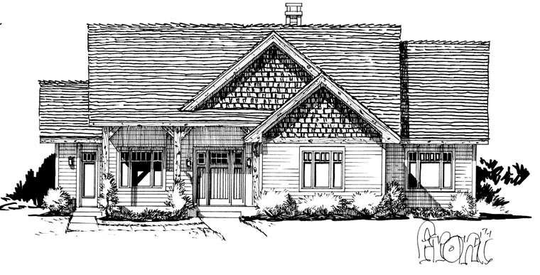 Craftsman, Ranch House Plan 43210 with 3 Beds, 2 Baths Picture 3