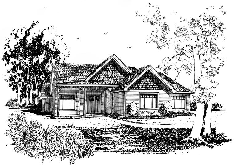 Craftsman Ranch House Plan 43210