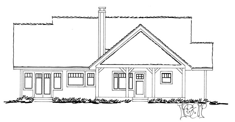 Craftsman , Ranch House Plan 43210 with 3 Beds, 2 Baths Rear Elevation
