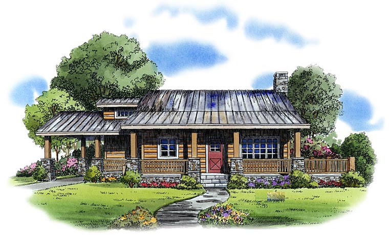 Cabin, Country, Log House Plan 43211 with 2 Beds, 1 Baths, 1 Car Garage Elevation