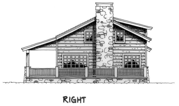 Cabin, Country, Log House Plan 43211 with 2 Beds, 1 Baths, 1 Car Garage Picture 2