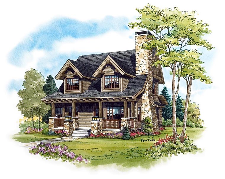 Cabin Craftsman Log House Plan 43212 Elevation