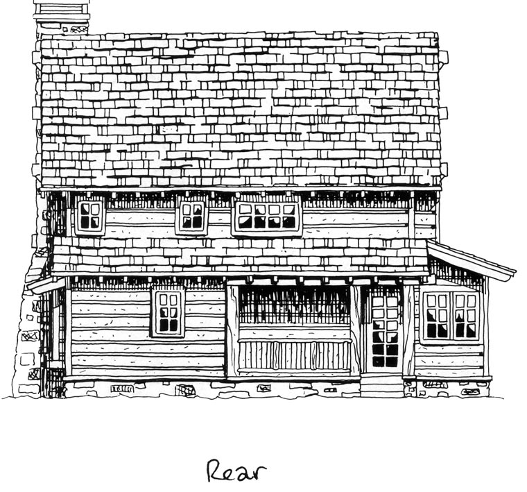 Cabin Craftsman Log House Plan 43212 Rear Elevation