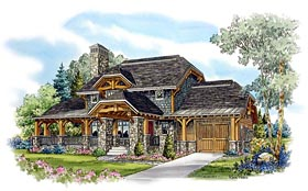 Country , Craftsman , Log House Plan 43213 with 2 Beds, 3 Baths, 2 Car Garage Elevation