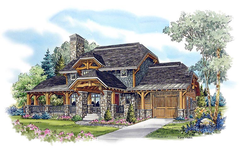 Country craftsman log house plan 43213 for Craftsman log home plans