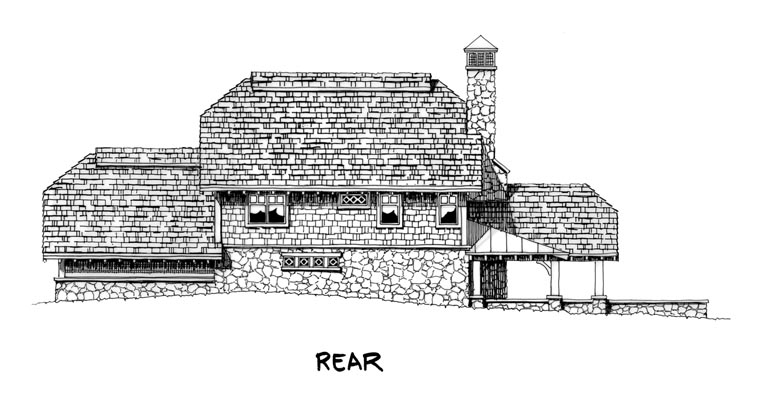 Country Craftsman Log Rear Elevation of Plan 43213