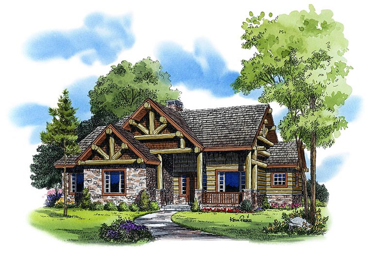 Cabin Craftsman Log House Plan 43214 Elevation