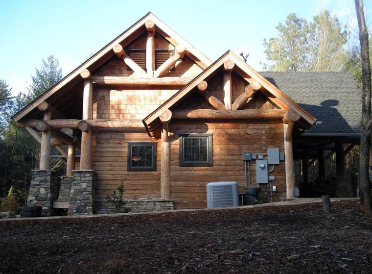 Cabin craftsman log house plan 43214 for Craftsman log home plans