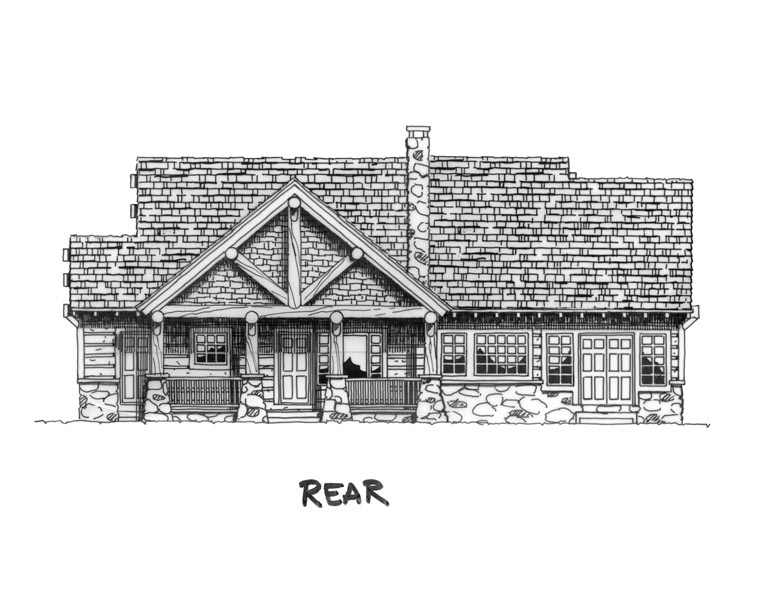 Cabin Craftsman Log House Plan 43214 Rear Elevation