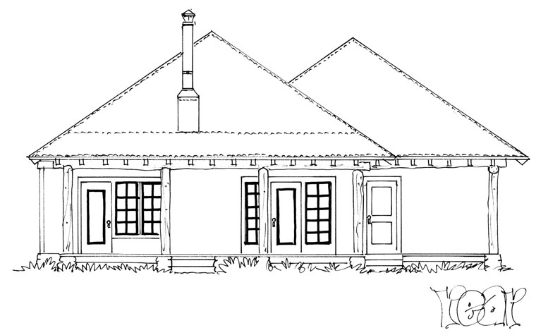 Country Ranch House Plan 43215 Rear Elevation