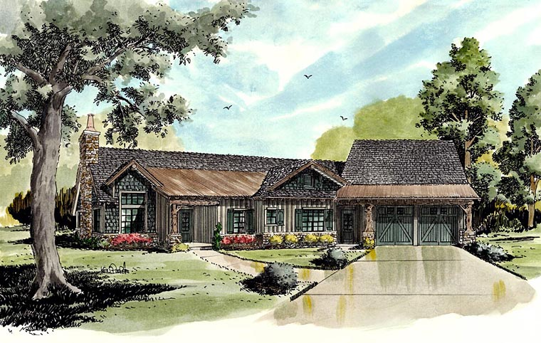 Country , Craftsman , Ranch House Plan 43216 with 4 Beds, 3 Baths, 2 Car Garage Elevation
