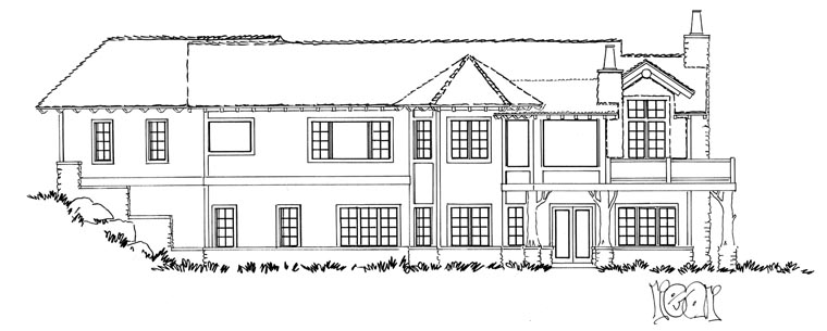 Country , Craftsman , Ranch House Plan 43216 with 4 Beds, 3 Baths, 2 Car Garage Rear Elevation