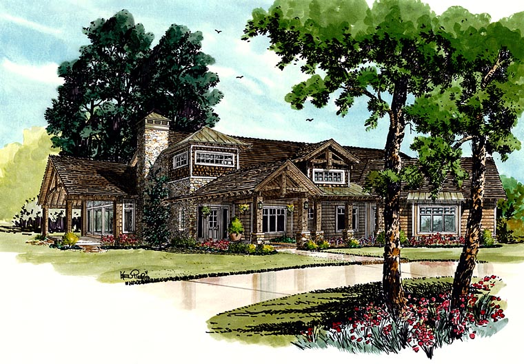 Craftsman European Tudor House Plan 43219 Elevation