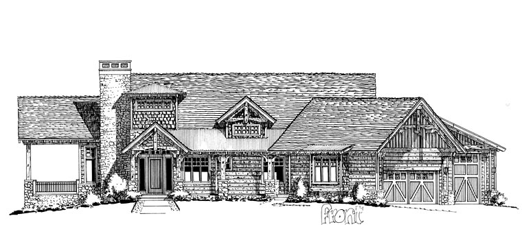 Craftsman European Tudor House Plan 43219