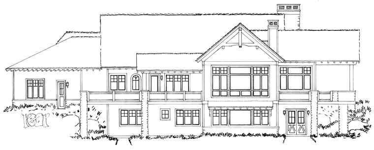 Craftsman European Tudor House Plan 43219 Rear Elevation