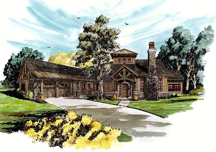 Craftsman European Tudor House Plan 43220 Elevation