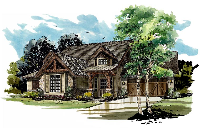 Bungalow Country Craftsman Elevation of Plan 43221