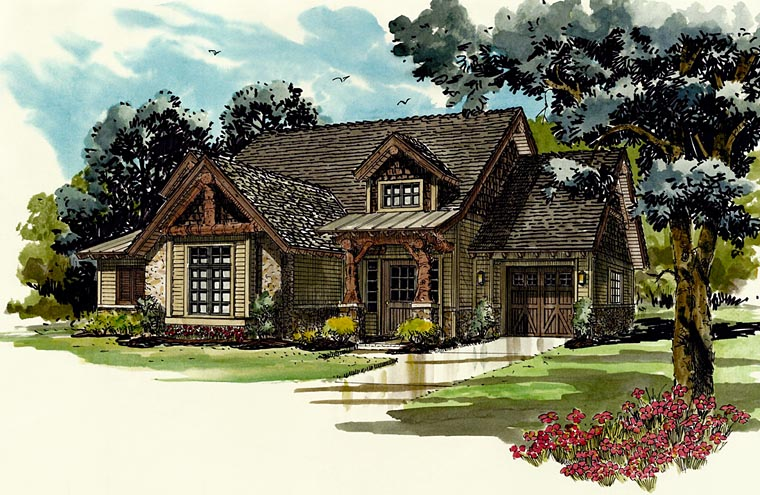 Bungalow, Country, Craftsman House Plan 43222 with 5 Beds, 4 Baths, 1 Car Garage Elevation
