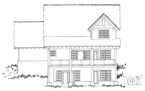 Bungalow, Country, Craftsman House Plan 43222 with 5 Beds, 4 Baths, 1 Car Garage Rear Elevation