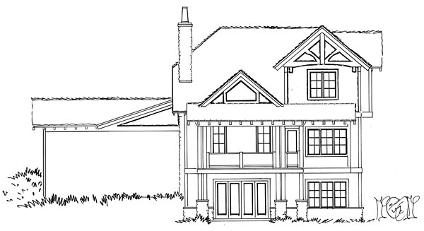 Bungalow Cottage Country Craftsman Rear Elevation of Plan 43223