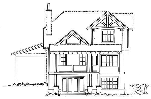 Bungalow Cottage Country Craftsman Rear Elevation of Plan 43224
