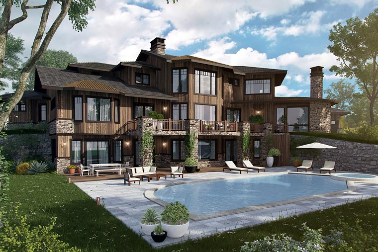 Bungalow, Contemporary, Craftsman House Plan 43225 with 4 Beds, 5 Baths, 4 Car Garage Picture 1