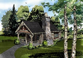 Cabin , Country , Craftsman , Log House Plan 43229 with 1 Beds, 1 Baths Elevation
