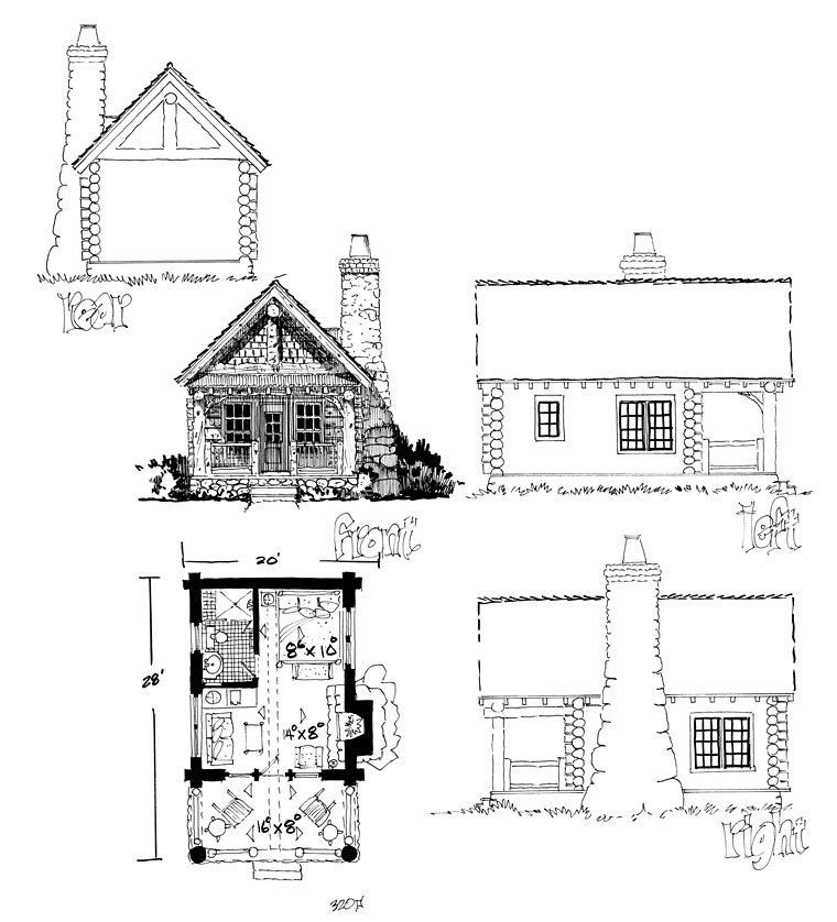 Cabin , Country , Craftsman , Log House Plan 43229 with 1 Beds, 1 Baths Rear Elevation
