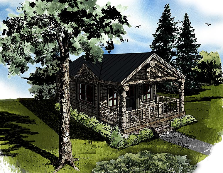 Cabin Country Log House Plan 43230 Elevation
