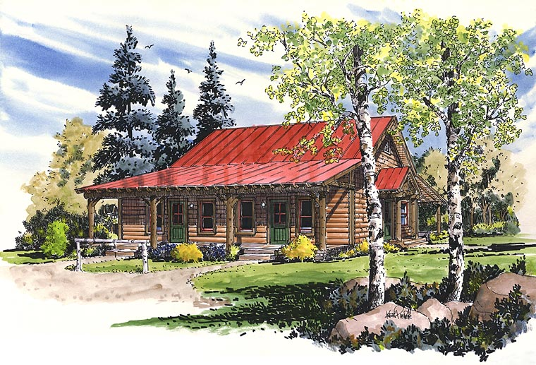 Cabin Country Log Multi-Family Plan 43231 Elevation