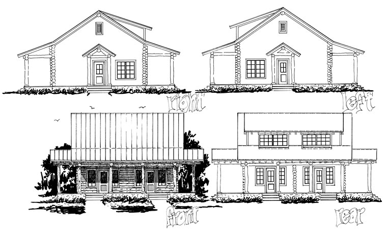 Cabin Country Log Multi-Family Plan 43231 Rear Elevation